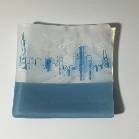 Chicago Skyline Fused Glass Catch-all Dish