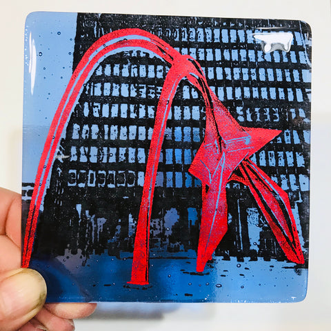 "Chicago Calder ""Flamingo"" Single Coaster"