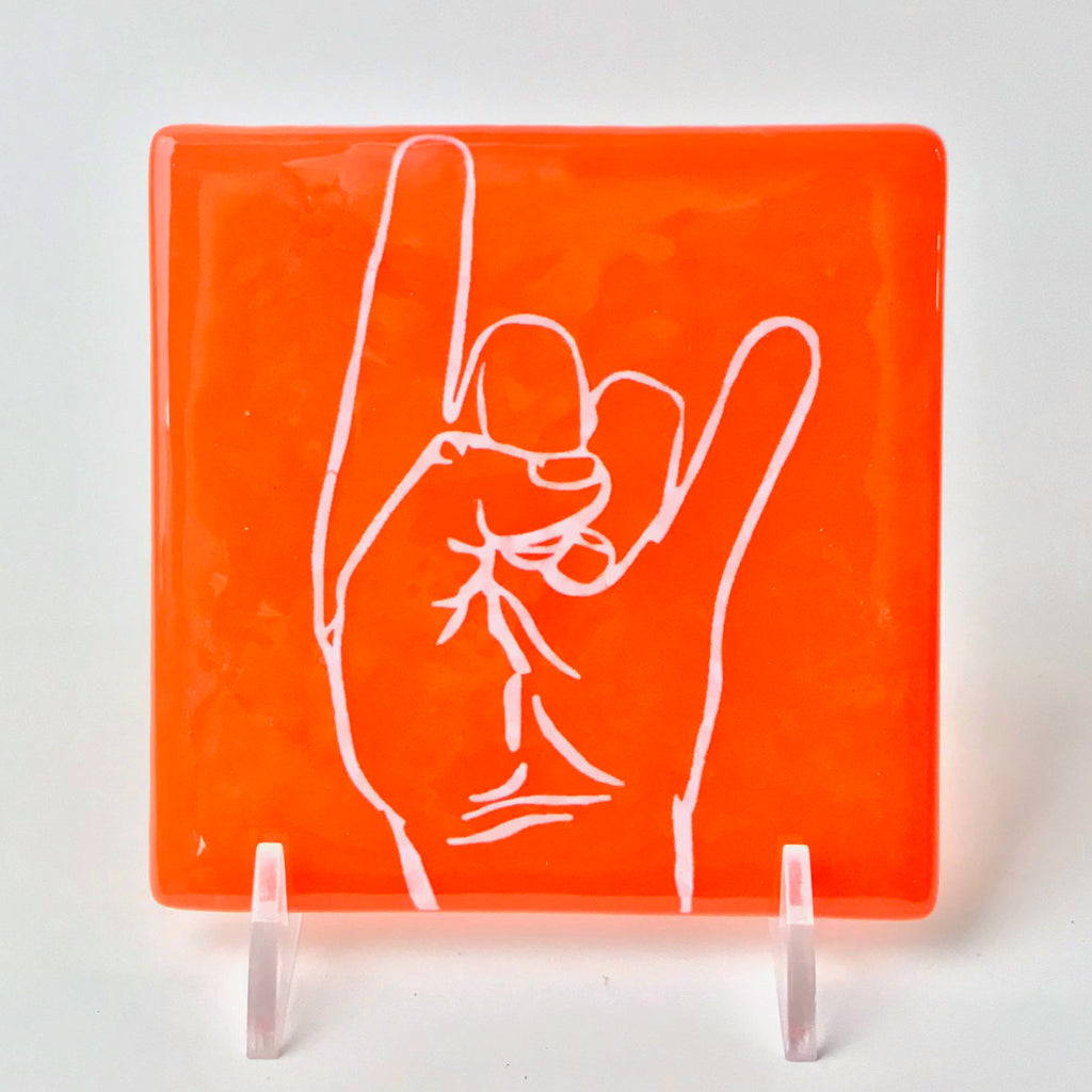 Texas Hook 'Em Horns Single Coaster