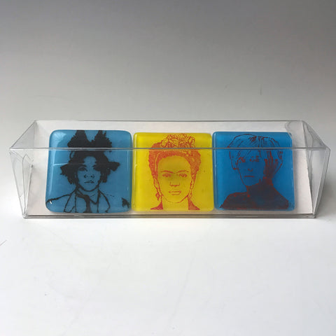 3-pack of Artists Fused Glass Magnets