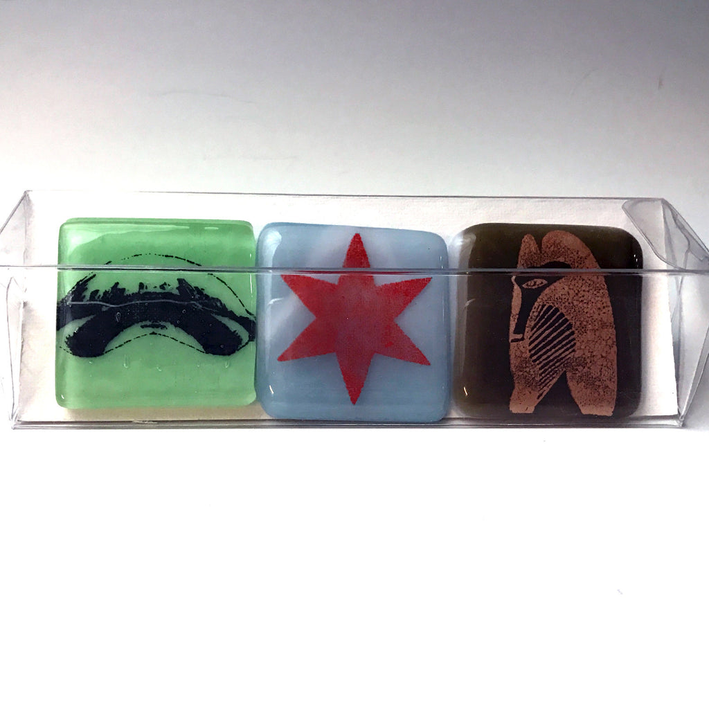 3-pack of Chicago Sculpture Fused Glass Magnets