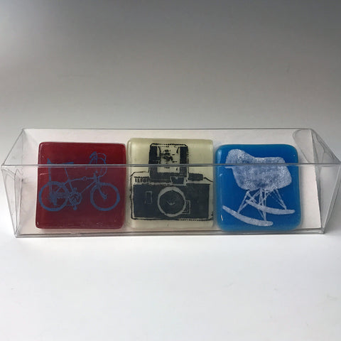 3-pack of Vintage Designs Fused Glass Magnets