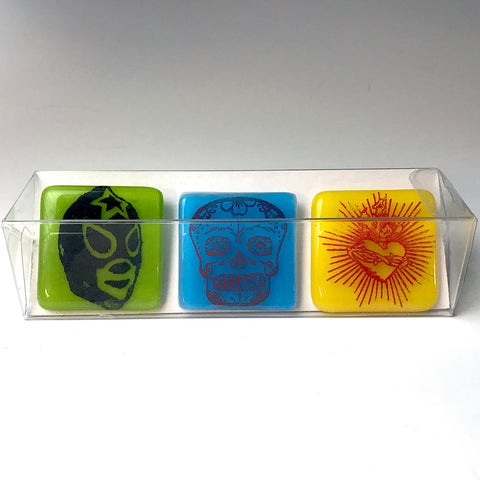 3-pack of Viva Designs Fused Glass Magnets
