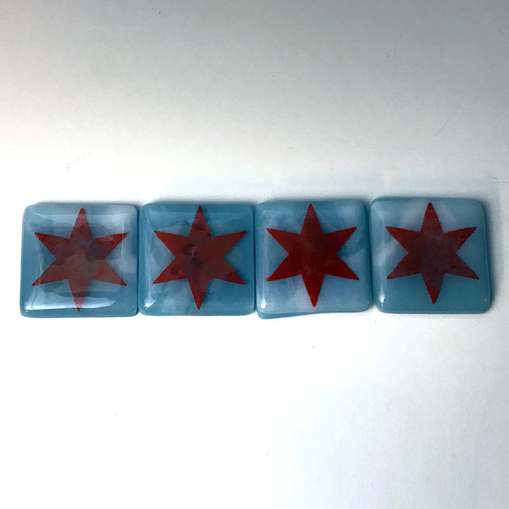 4-pack Chicago Flag Stars Fused Glass Magnets