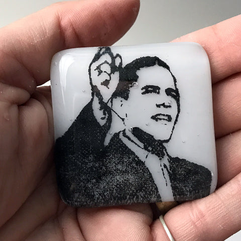 Barack Obama Fused Glass Magnet