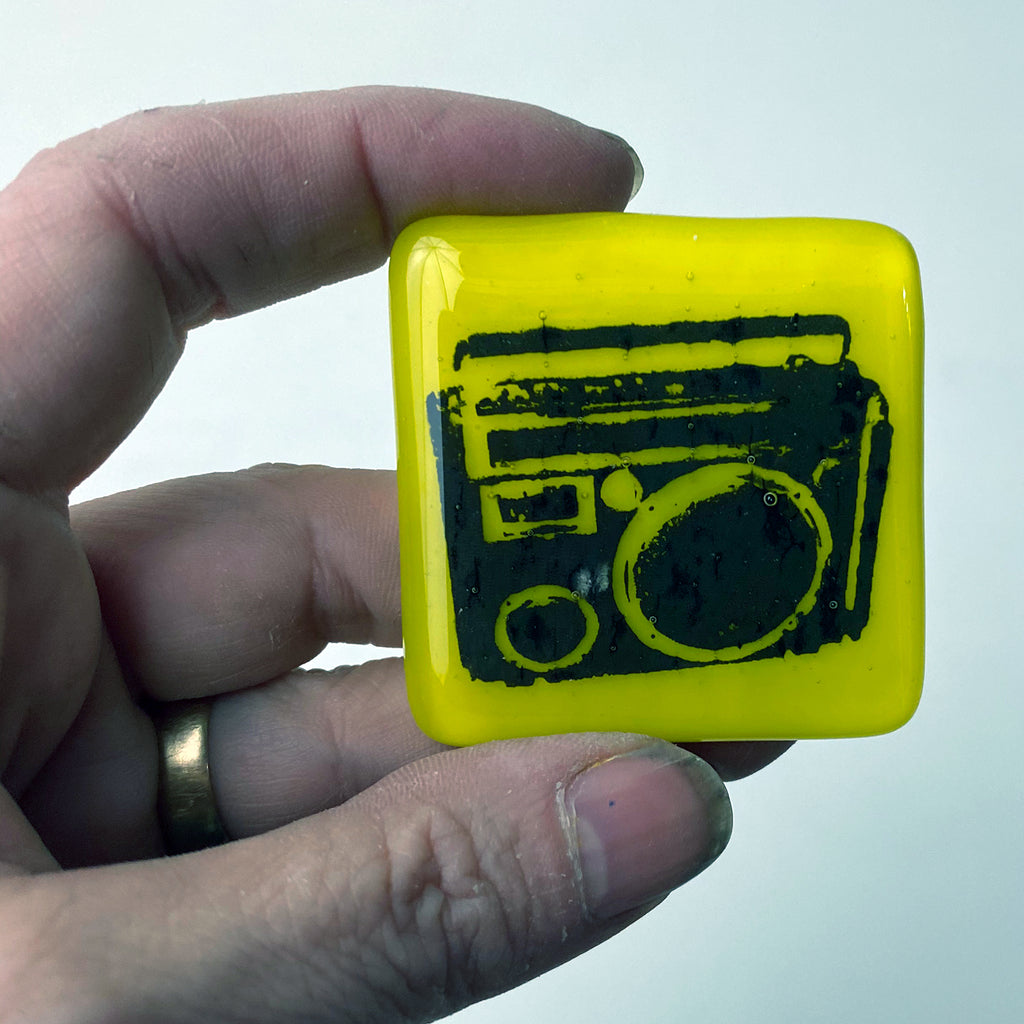Boombox Fused Glass Magnet