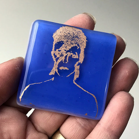 David Bowie Fused Glass Magnet