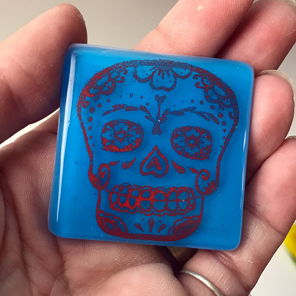 Calavera Fused Glass Magnet