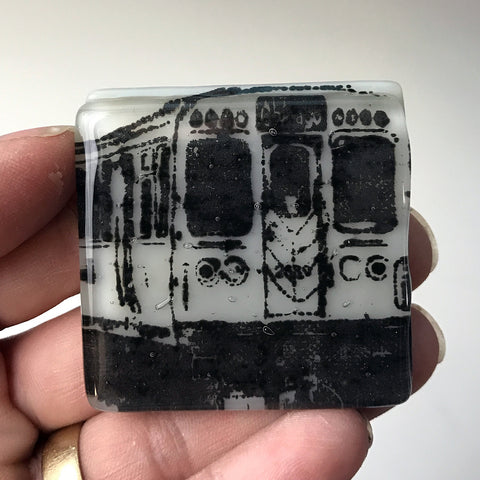 Chicago EL Fused Glass Magnet