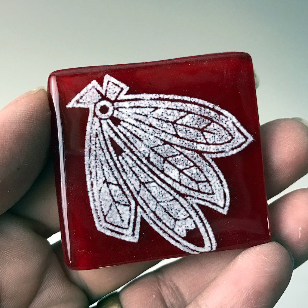 Chicago Hawks Hockey Fused Glass Magnet