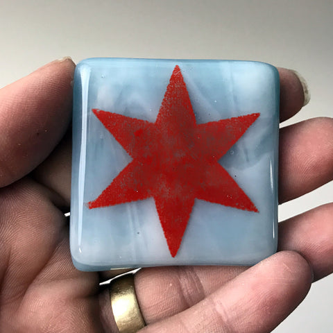 Chicago Flag Star Fused Glass Magnet