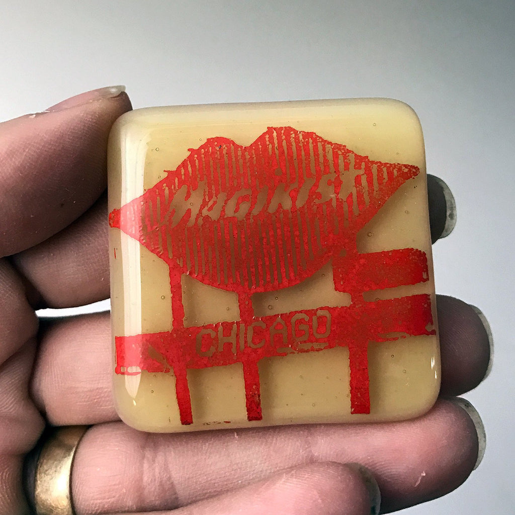 Chicago Magikist Fused Glass Magnet