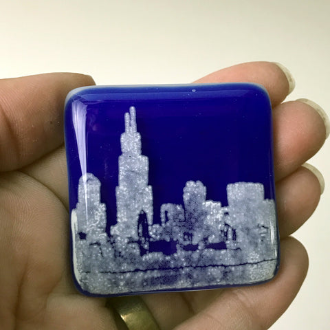 Chicago Skyline Fused Glass Magnet