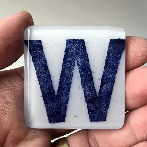 Chicago Cubs W Fused Glass Magnet