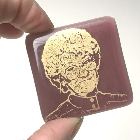 Golden Girls Actress Estelle Getty Fused Glass Magnet