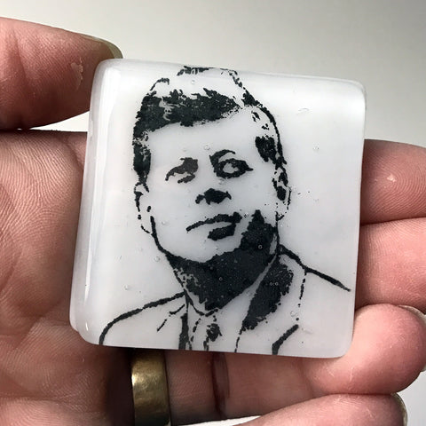 John F. Kennedy Fused Glass Magnet