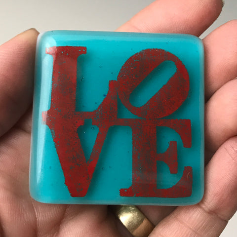 LOVE Fused Glass Magnet