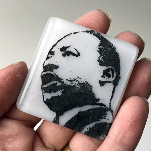 Martin Luther King Jr. Fused Glass Magnet