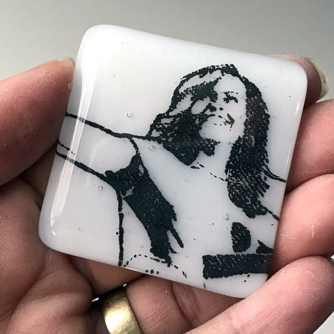 Michelle Obama Fused Glass Magnet