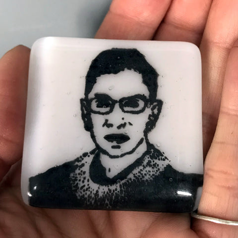 Ruth Bader Ginsberg Fused Glass Magnet
