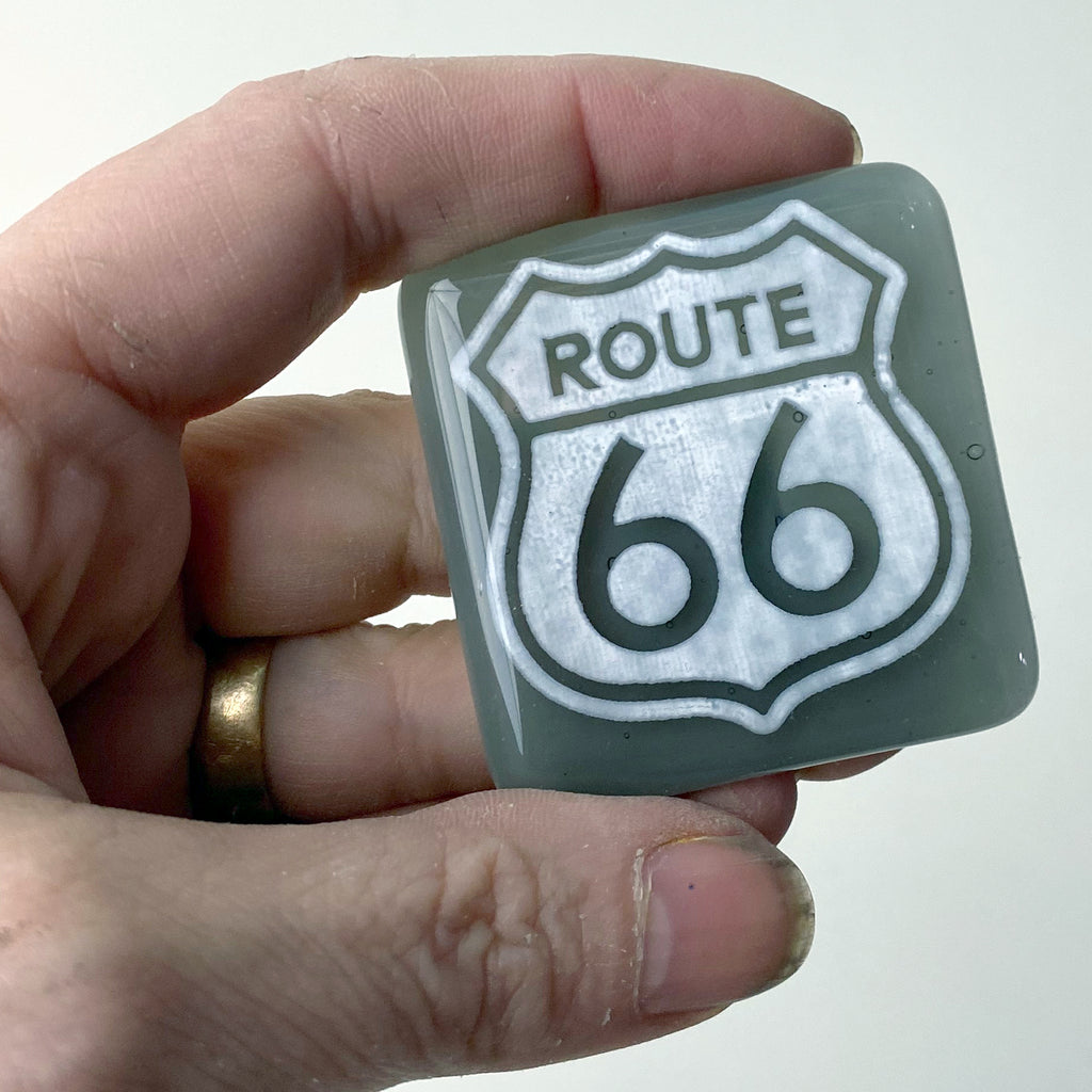 Route 66 Fused Glass Magnet