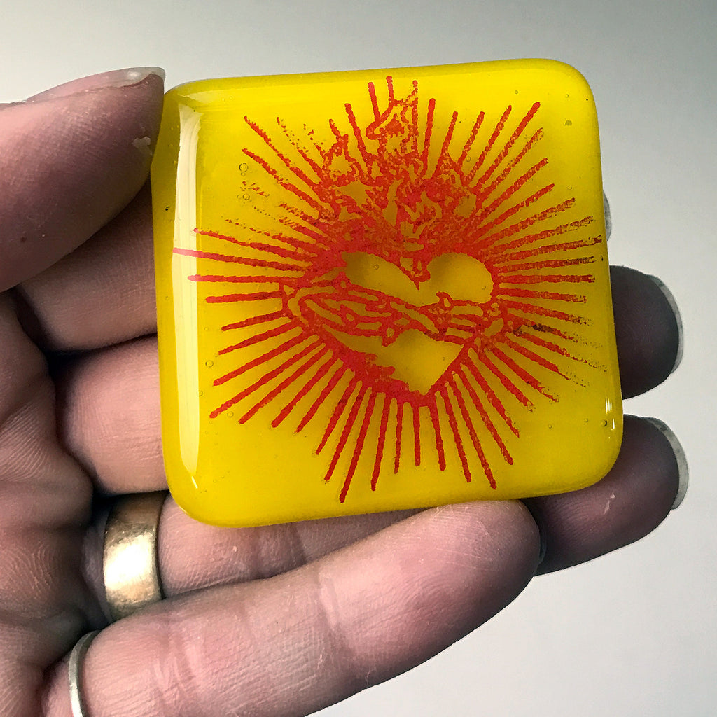 Sacred Heart Fused Glass Magnet