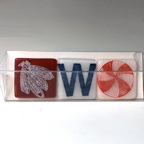 3-pack of Chicago Sports Fused Glass Magnets