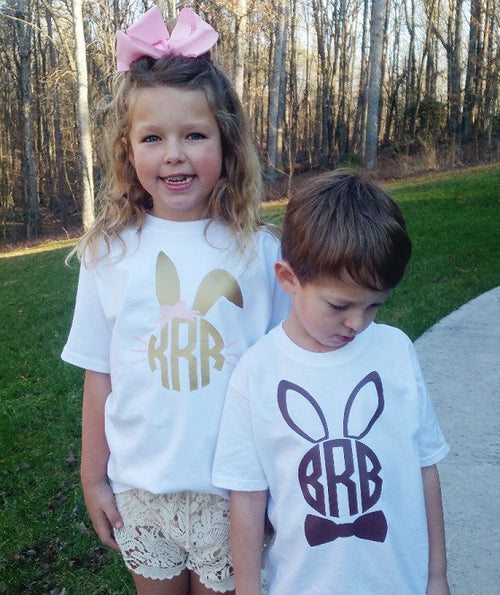 Monogrammed Easter Bunny Shirt - KABOLILLIE monogrammed gifts