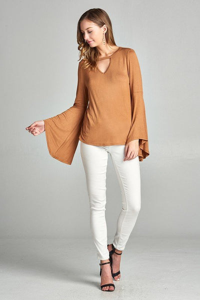 Bell Sleeve Cut-Out Top