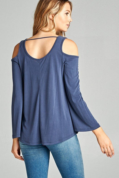 Bell-Sleeve Cold Shoulder