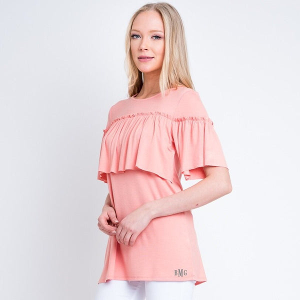 Personalized Blush Ruffle Top - KABOLILLIE monogrammed gifts