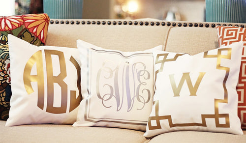 Monogrammed Metallic Pillow Covers - KABOLILLIE monogrammed gifts