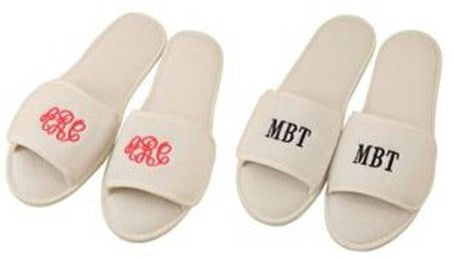 Monogrammed Terry Cloth Slippers - KABOLILLIE monogrammed gifts