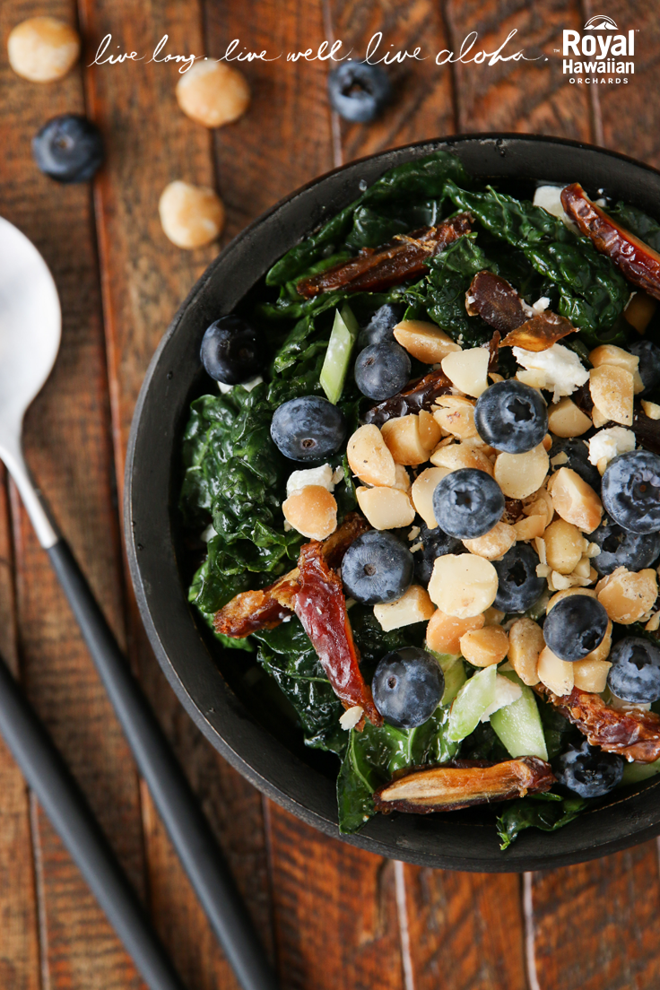 Super Nutty Superfood Salad with Kale, Dates & Blueberries