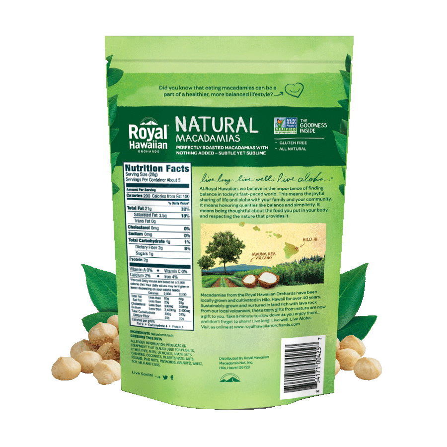 Natural Roasted Macadamias | Royal Hawaiian Orchards