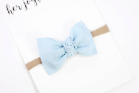 Blue baby bow, baby headband, newborn bow headband, blue baby girl bows, infant headbands, nylon headbands, bow hair clip cornflower