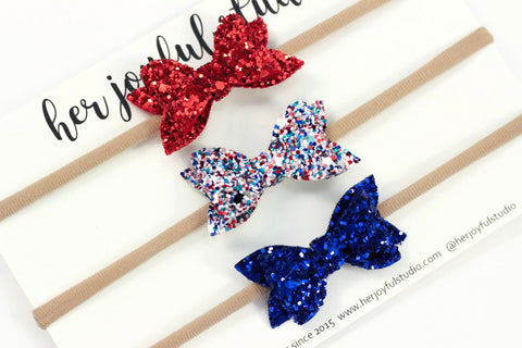 Fourth of July bow headband, baby headband set, 4th of July headbands, baby-girl bow headband, infant headband, glitter headband,