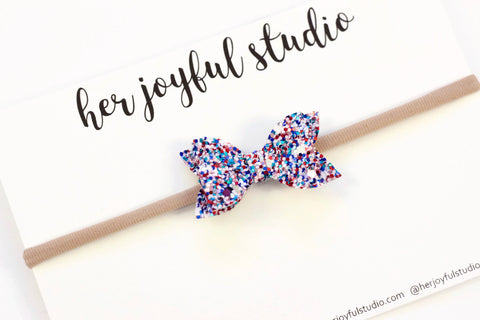 "Fourth of July bow headband, hair clip, bow headband, baby-girl bow headband, 2"" hair bow, blue glitter bow headband"