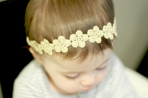 adult lace headband - baby headband - flower crown - baby lace headband - newborn lace headband - lace headband wedding - gold headband -