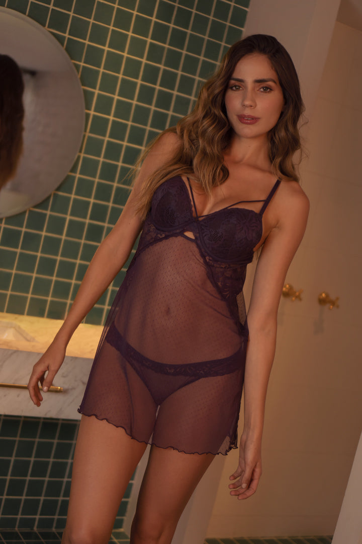 Babydoll And Matching Panty Made Of Tulle (013240)
