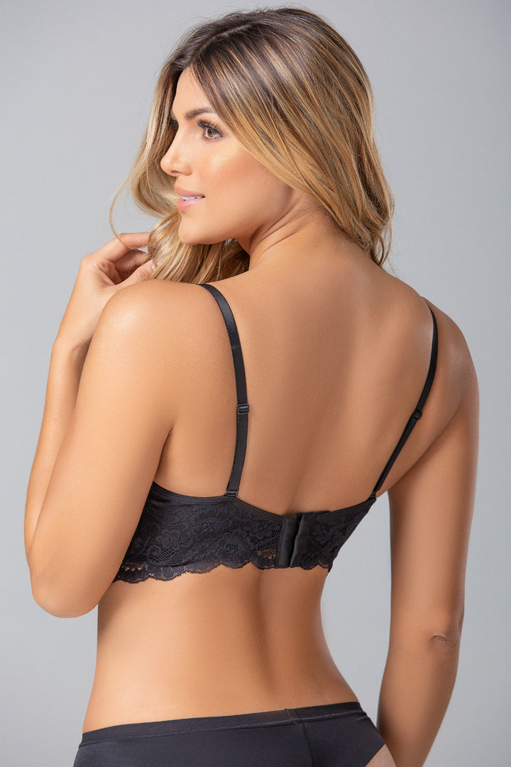 Demi Cup Bra Made Of Microfiber And Tulle (021507)