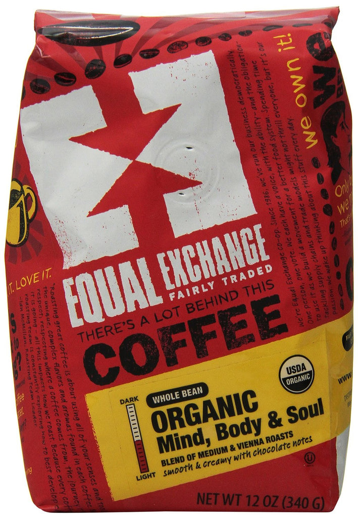 Equal Exchange Fair Trade Organic Mind, Body and Soul Whole Bean Coffee