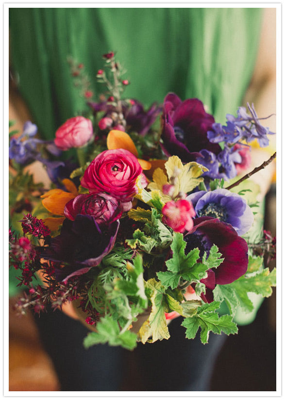 lovely bachelorette party florals in jewel tones by Gorgeous and Green