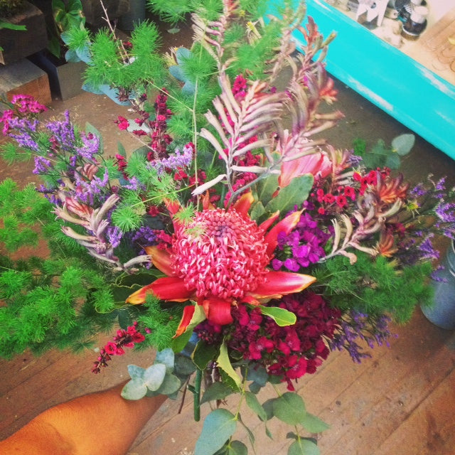 Beautiful hand tied bouquets for awards at CCA in Oakland by Gorgeous and Green