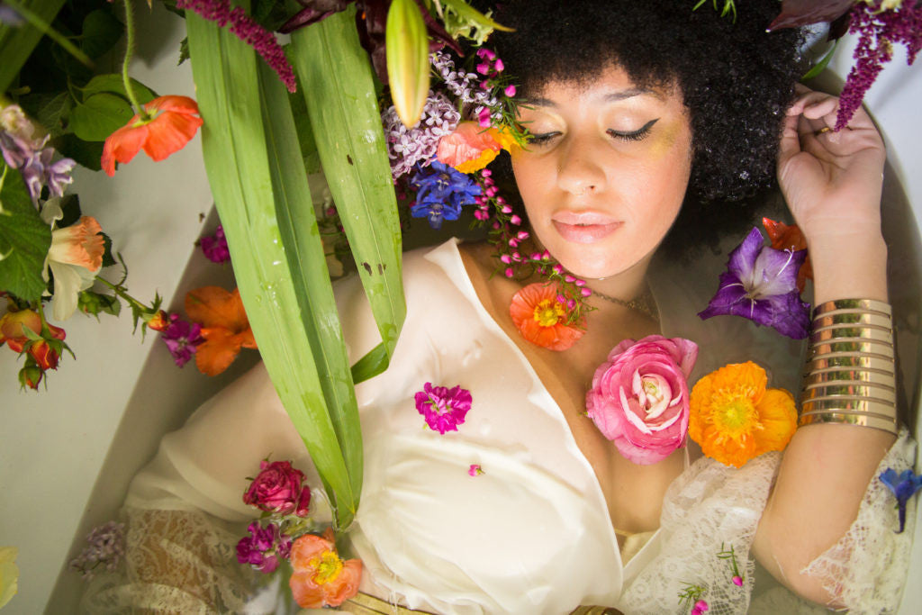 Floral Photoshoot by Gorgeous and Green in a clawfoot Bathtub