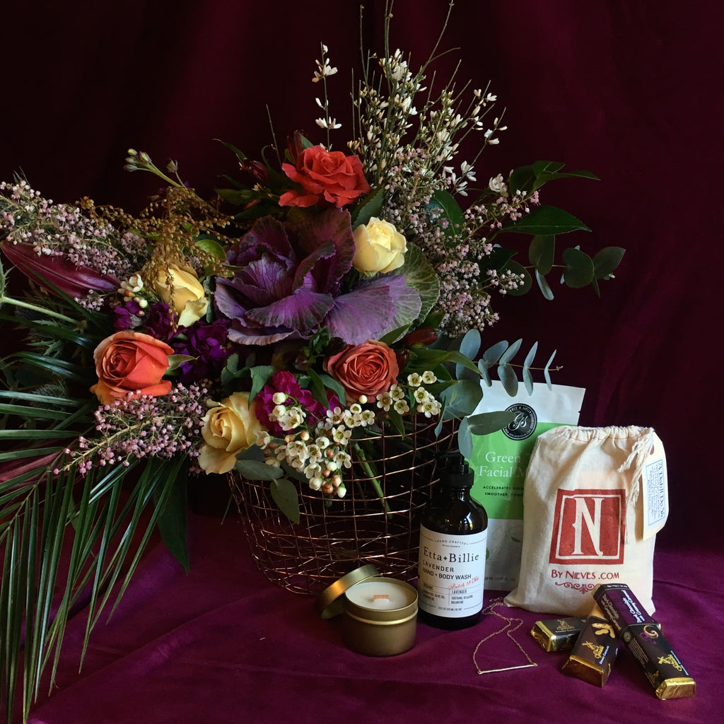 local grown bouquet and girly things gift basket La Femme by Gorgeous and Green