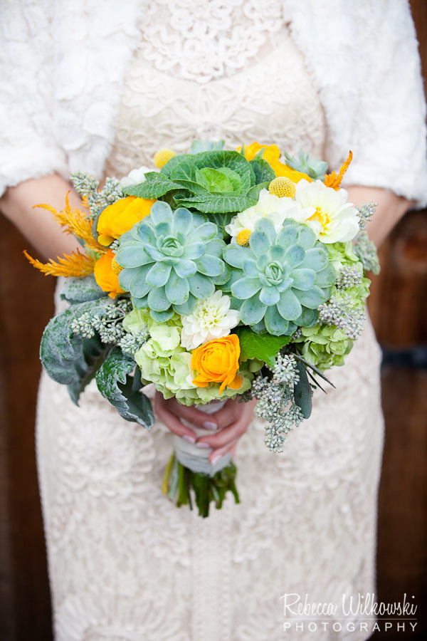 Succulent green and mustard yellow bridal bouquet by Gorgeous and Green