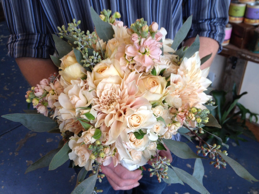 blush cream white peach pink bouquet by Gorgeous and Green