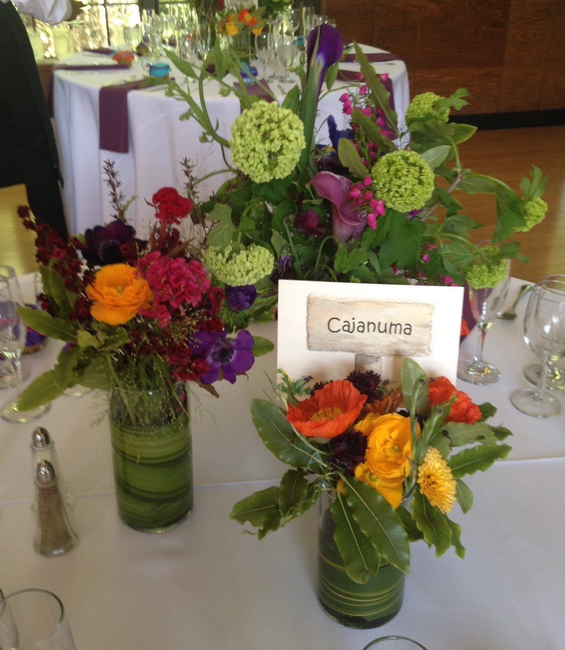 local grown colorful centerpieces for a Brazil Room wedding by Gorgeous and Green