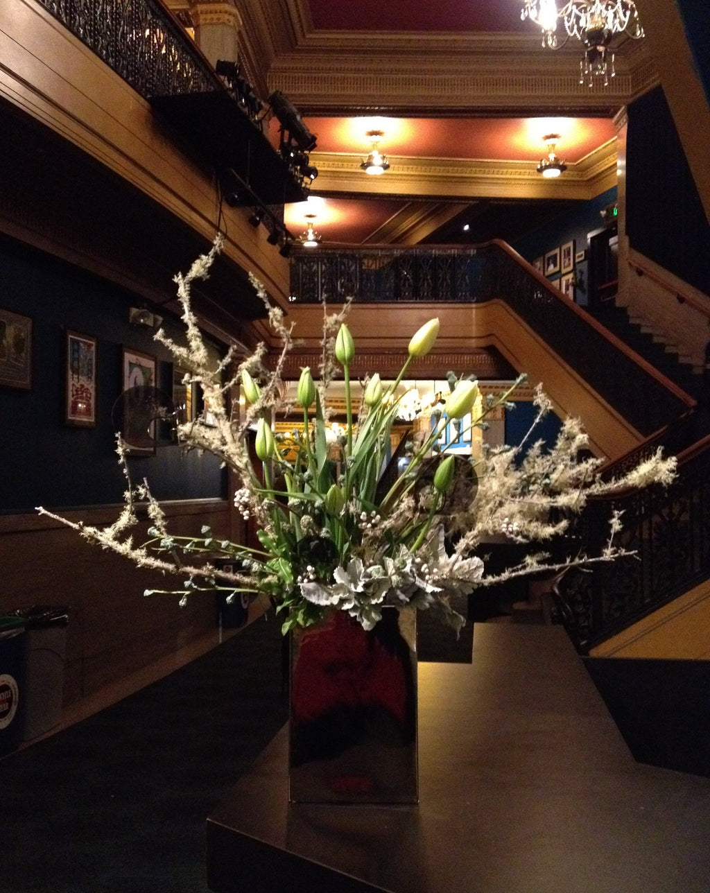 Large entrance arrangement for Gaffta banquet at the Warfield by Gorgeous and Green